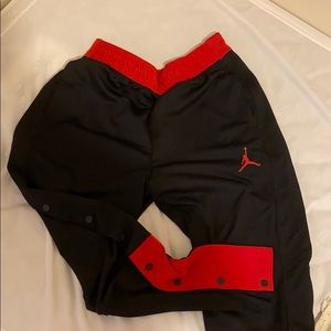 Jordan Black and Red Snap On Joggers